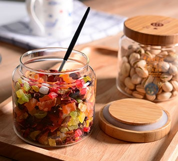 mixed dried fruit safely stored in a jar