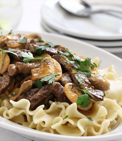 Mushroom Stroganoff or Beef
