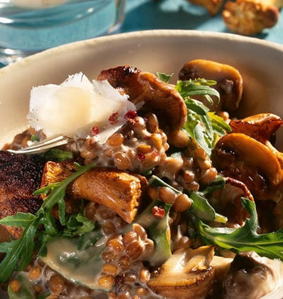 Wild Mushrooms and Wheat Risotto