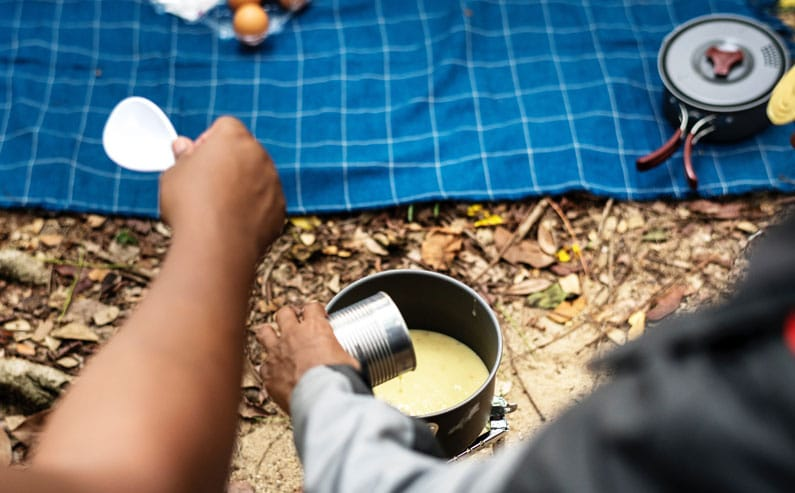 image of an outdoor meal preparation
